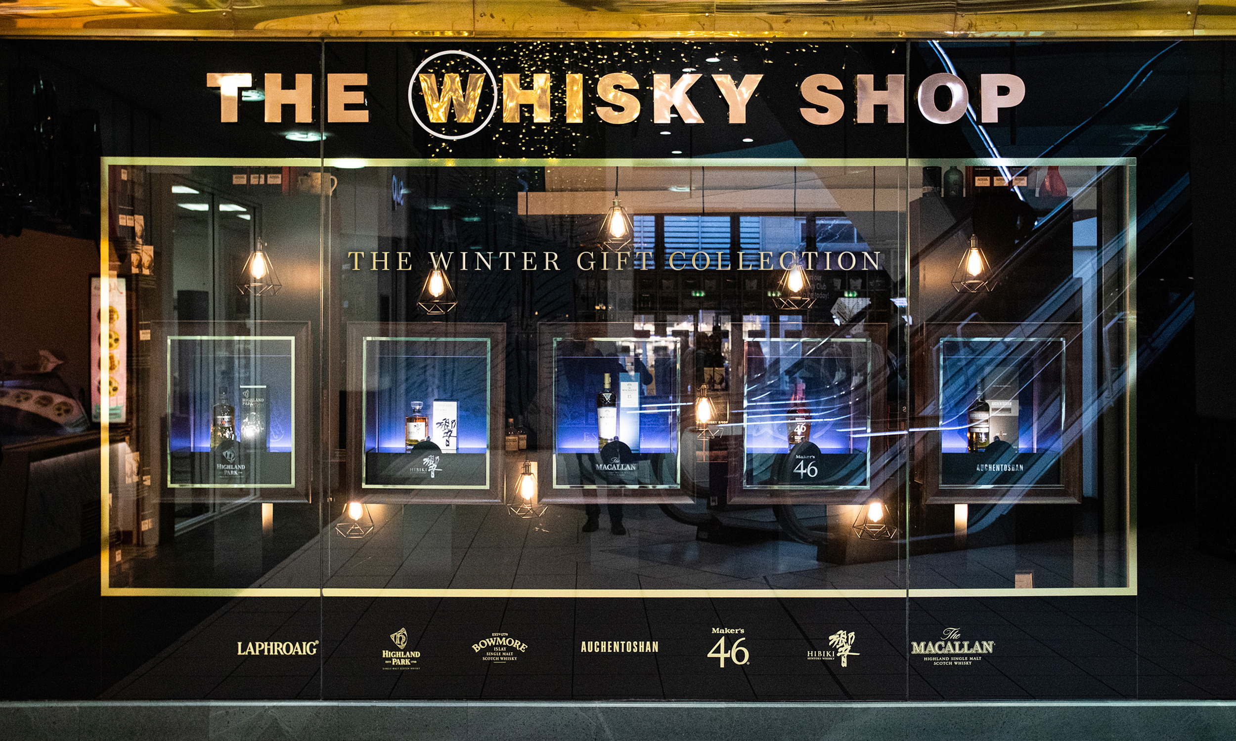 The Whisky Shop festive window display 2019